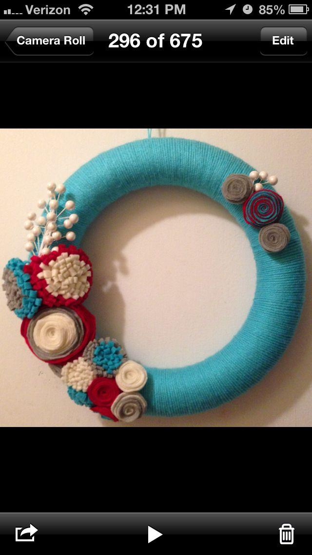 Aqua yarn wreath  Check out my Facebook page!  https://m.facebook.com/CutezyCrafts