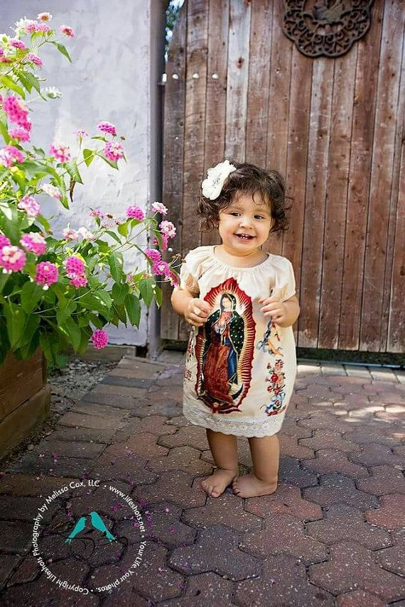 6592c3acb11 Mexican Our lady of Guadalupe baby dress in Black or Cream | baby ...