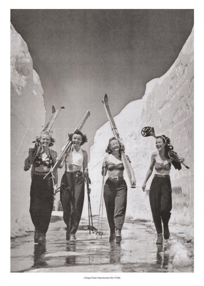 Girls Gone Skiing Art Vintage Ski Posters Ski Art Ski Posters