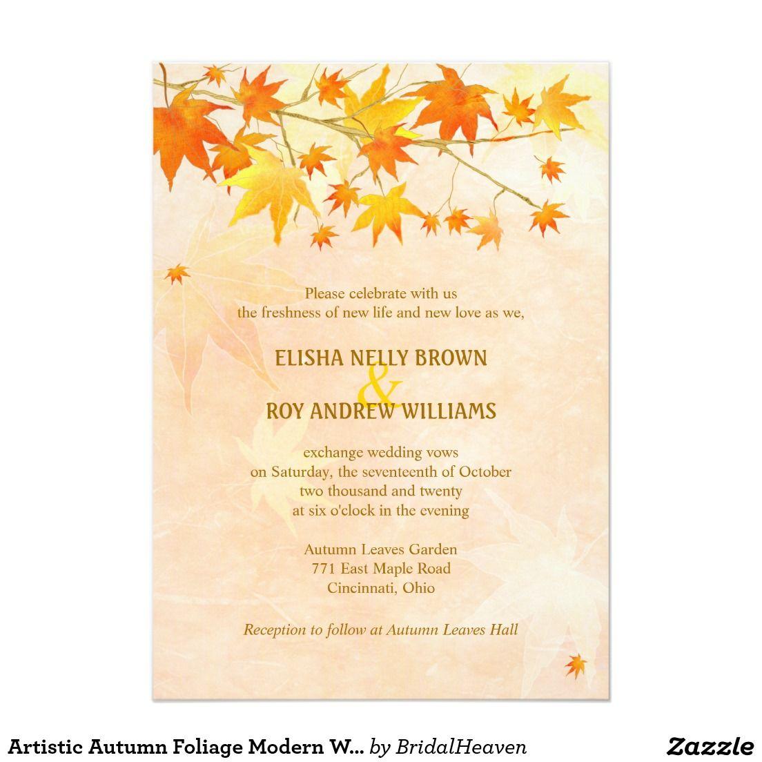 Artistic Autumn Foliage Modern Wedding Card | Wedding card, Weddings ...