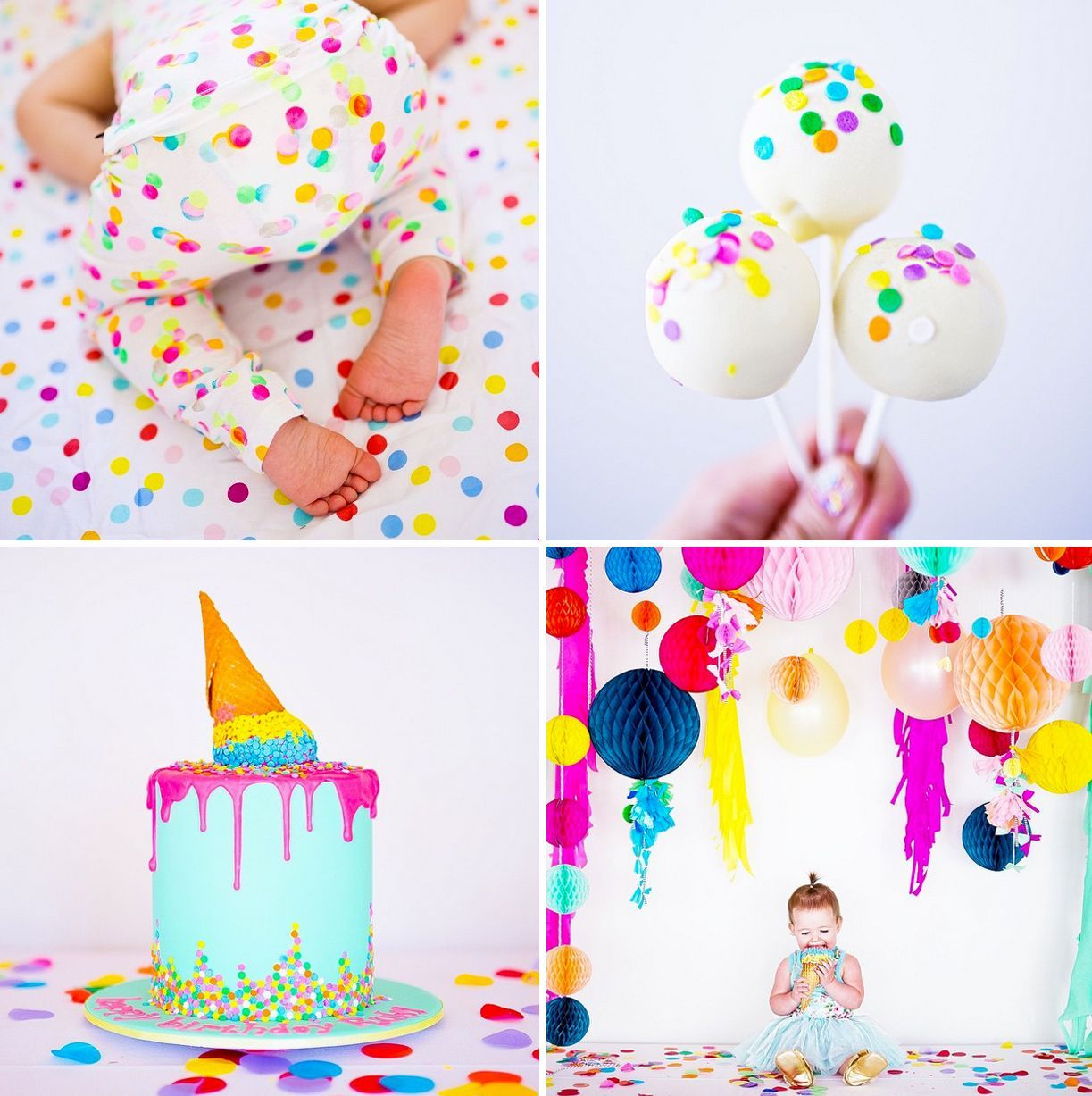 Photo of world's cutest first birthday party | confetti, cake, sprinkles, poufs, honeycom…