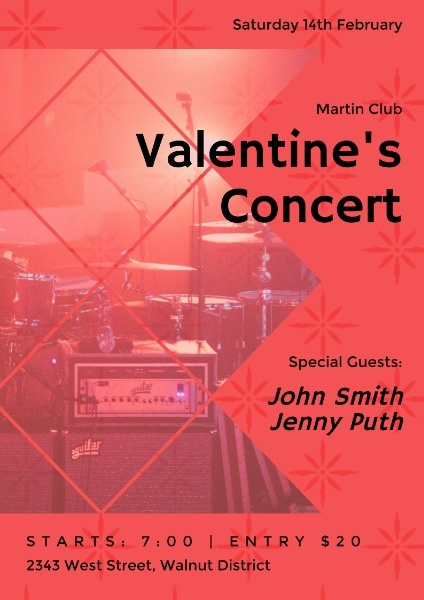 Use Fotor S Red Valentine S Day Concert Poster Template And Layout To Help You Diy Your Own Design And Crea Concert Poster Design Concert Flyer Poster Template