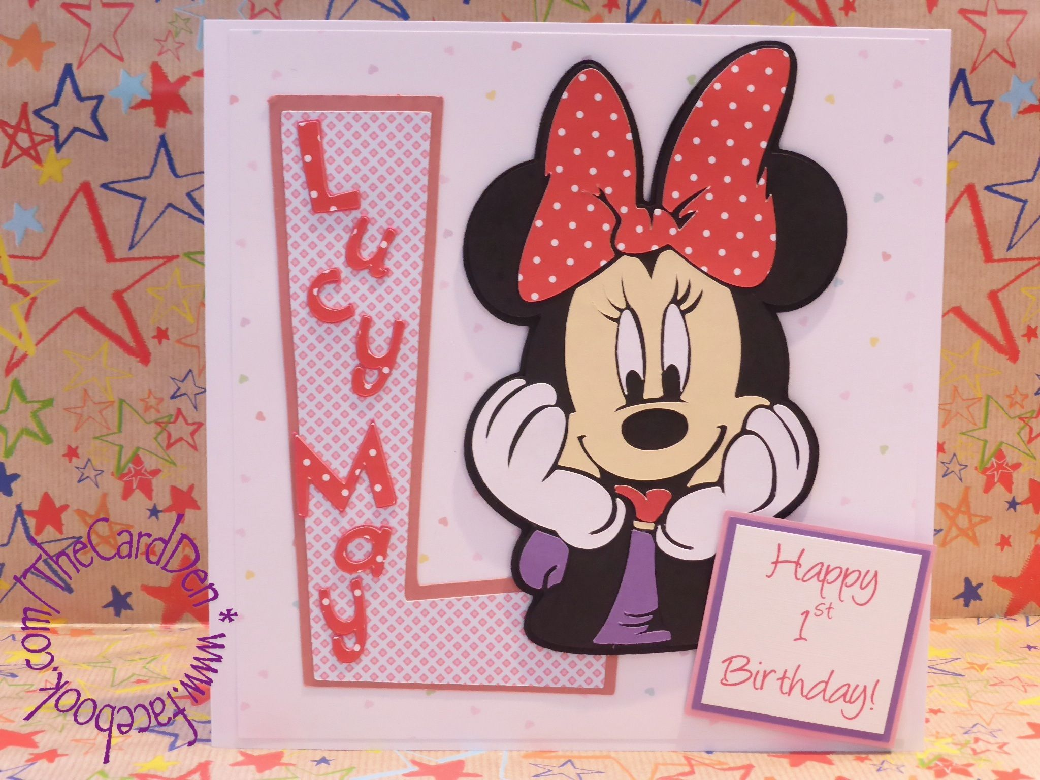 Handcrafted 1st Birthday card using the Mickey & Friends cartridge