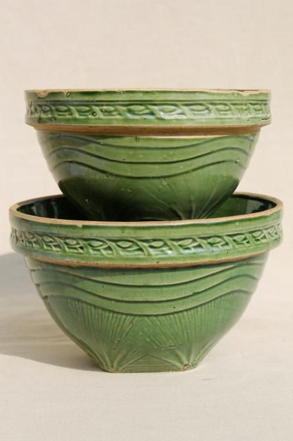 Vintage Yellow Ware Nesting bowls With Green Speckled Glaze
