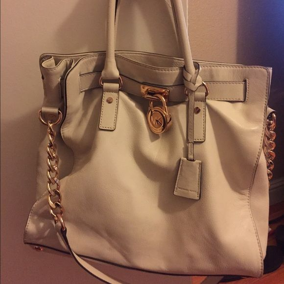 Michael Kors Hamilton Authentic Large White With Rose Gold Hardware Bags Shoulder