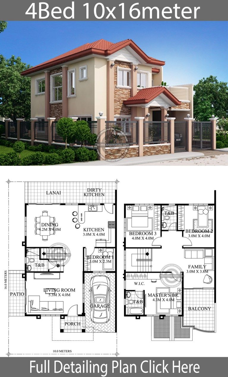 Home Design 10x16m 4 Bedrooms Home Ideas 2 Storey House Design Architectural House Plans Model House Plan