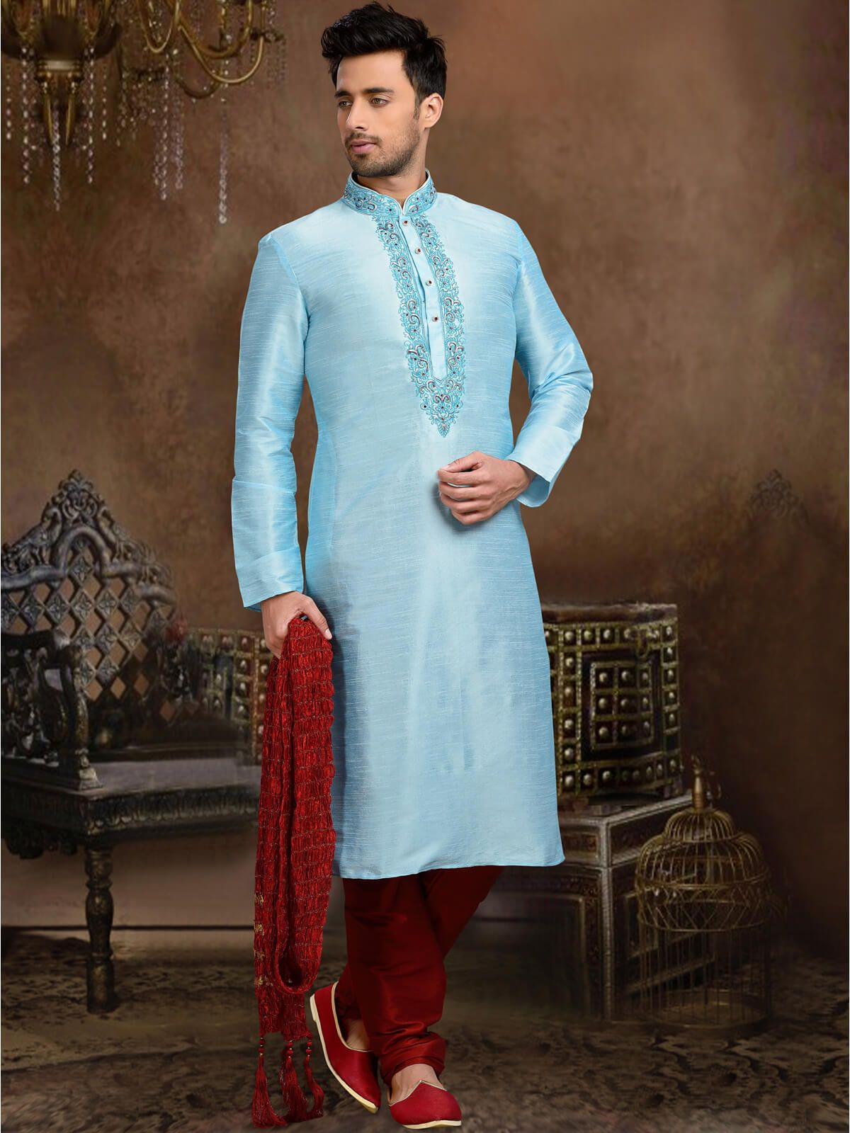 Angelic sky blue and red wedding wear dupion kurta pyjama. Having ...