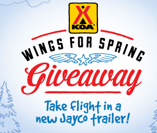 Win $40,136 Eagle HT 27.5 RLTS Camper from Kampgrounds of America (Enter Daily; Ends March 31, 2014) http://www.koawingsforspring.com//?