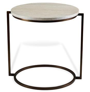 bauhaus cream travertine round side end table | industrial loft