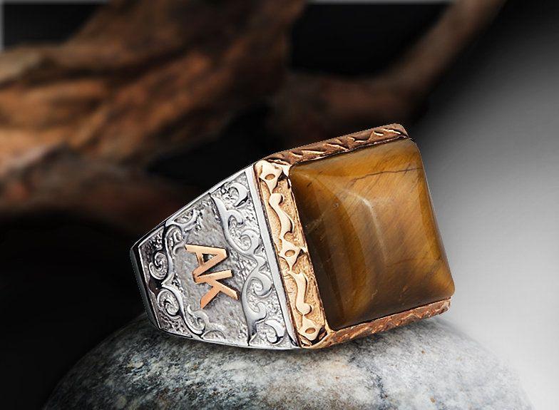 Men Tiger Eye Ring, Name Ring 925 Sterling Silver, NATURAL Stone Mens Ring, Customization Ring Anniversary Gift, Mens Custom Engagement Ring