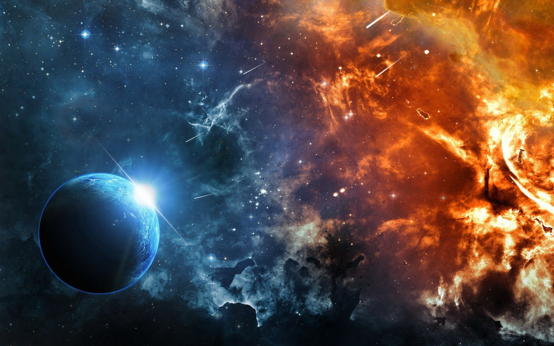 wallpaper space fire planet stars asteroid galaxy universe