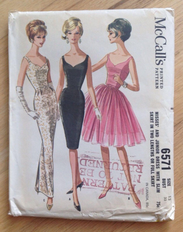 Vintage sewing pattern mccalls 6571 dress with slim skirt in two vintage sewing pattern mccalls 6571 dress with slim skirt in two lengths or full skirt size 13 jeuxipadfo Choice Image