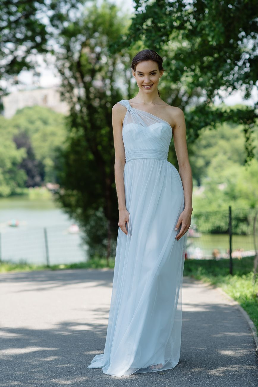Amsale Bridesmaids Tulle Dress in Ice - G949U. | Blue Wedding Colors ...