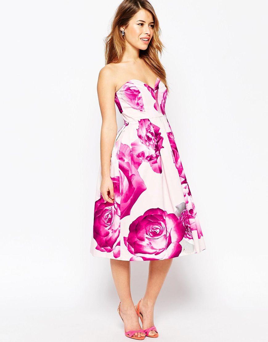 Image 4 of ASOS PETITE Bright Pink Floral Bandeau Midi Prom Dress ...