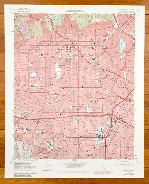 Antique Hollywood, California 1966 US Geological Survey ...
