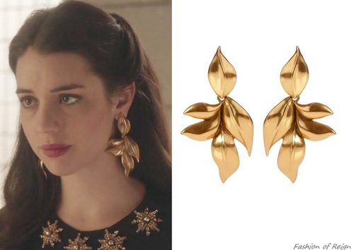 420a6015083bfe In the seventeenth episode Mary wears these sold out Oscar de la Renta  24-Karat Gold-Plated Leaf Clip Earrings.