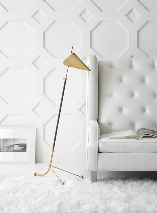 Geometic Wall Molding Circa Lighting Floor Lamp Fabric And Wallpaper In 2019 Circa Lighting