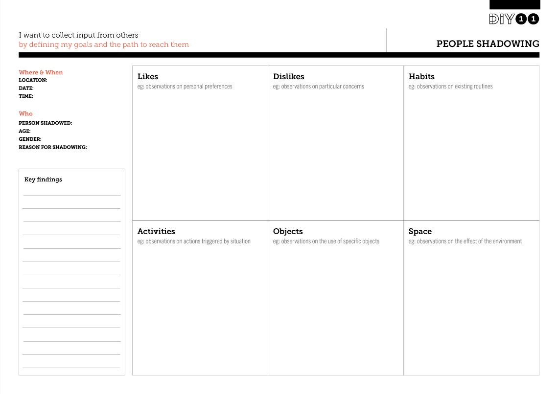 Tool Worksheet For People Shadowing