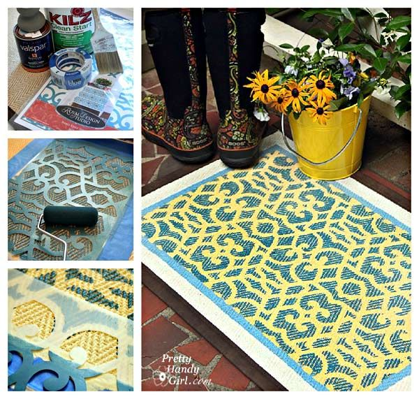 How To Stencil A Pretty Welcome Door Rug
