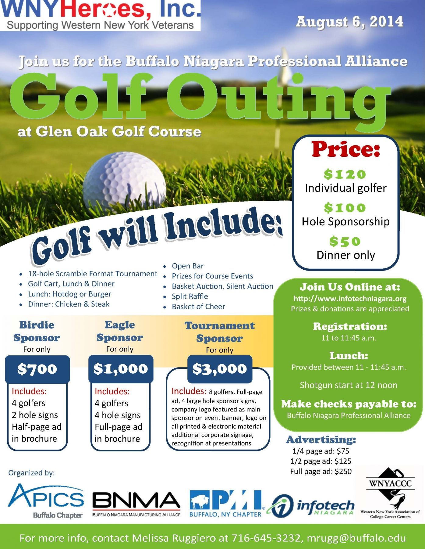 wny heroes inc golf tournament   glen oak