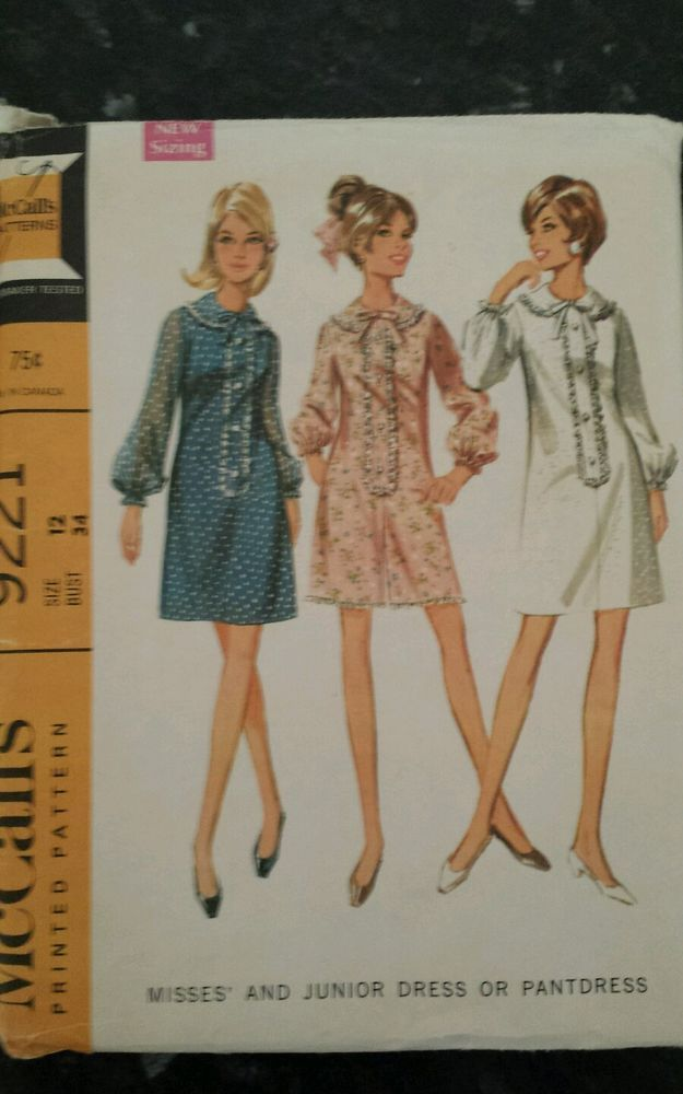VINTAGE 60s Sewing Pattern McCall s 9221 Mandarin Collar Dress Size 12 Bust 34