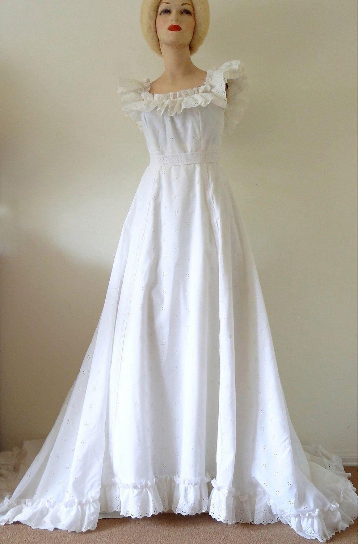 Vintage 1970s Boho Style Wedding Dress of White Eyelet
