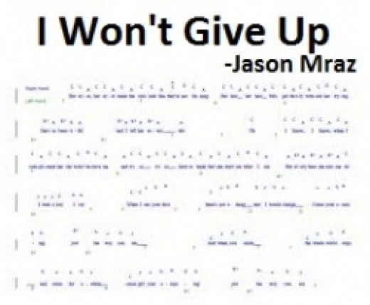 Jason Mraz I Wont Give Up Piano Chords And Sheet Music Jason
