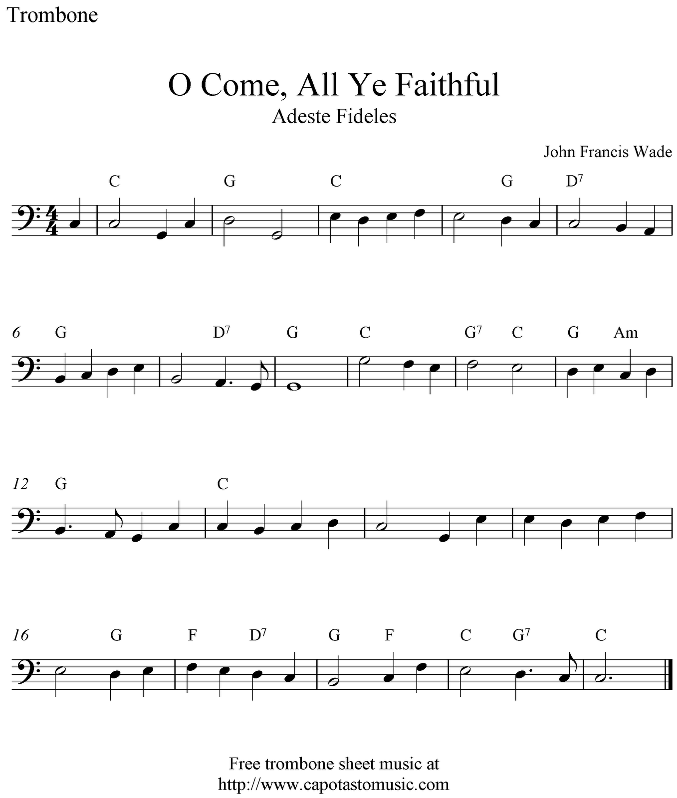 O Come, All Ye Faithful, simple music for trombone. | Music & Things ...