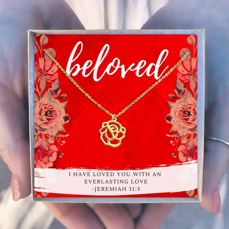 Christian gift christian jewelry rose necklace gift for