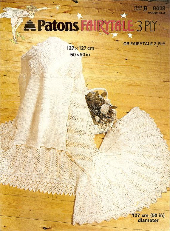 3028cee2d6d6 PDF Knitting Pattern Lacy Baby Shawls PATONS 8008 Fairytale 2 3 Ply ...