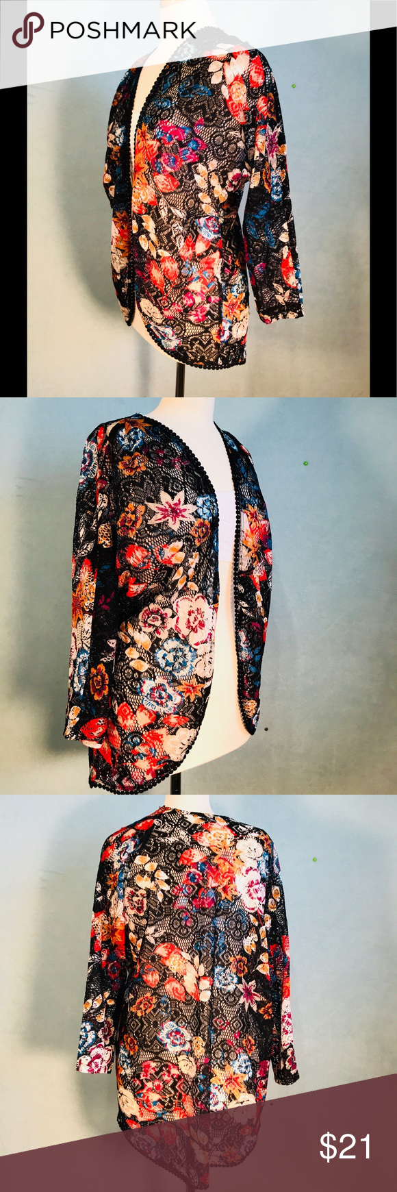 Floral Mesh Cover L NWOT black lacy cover can be worn as a ...