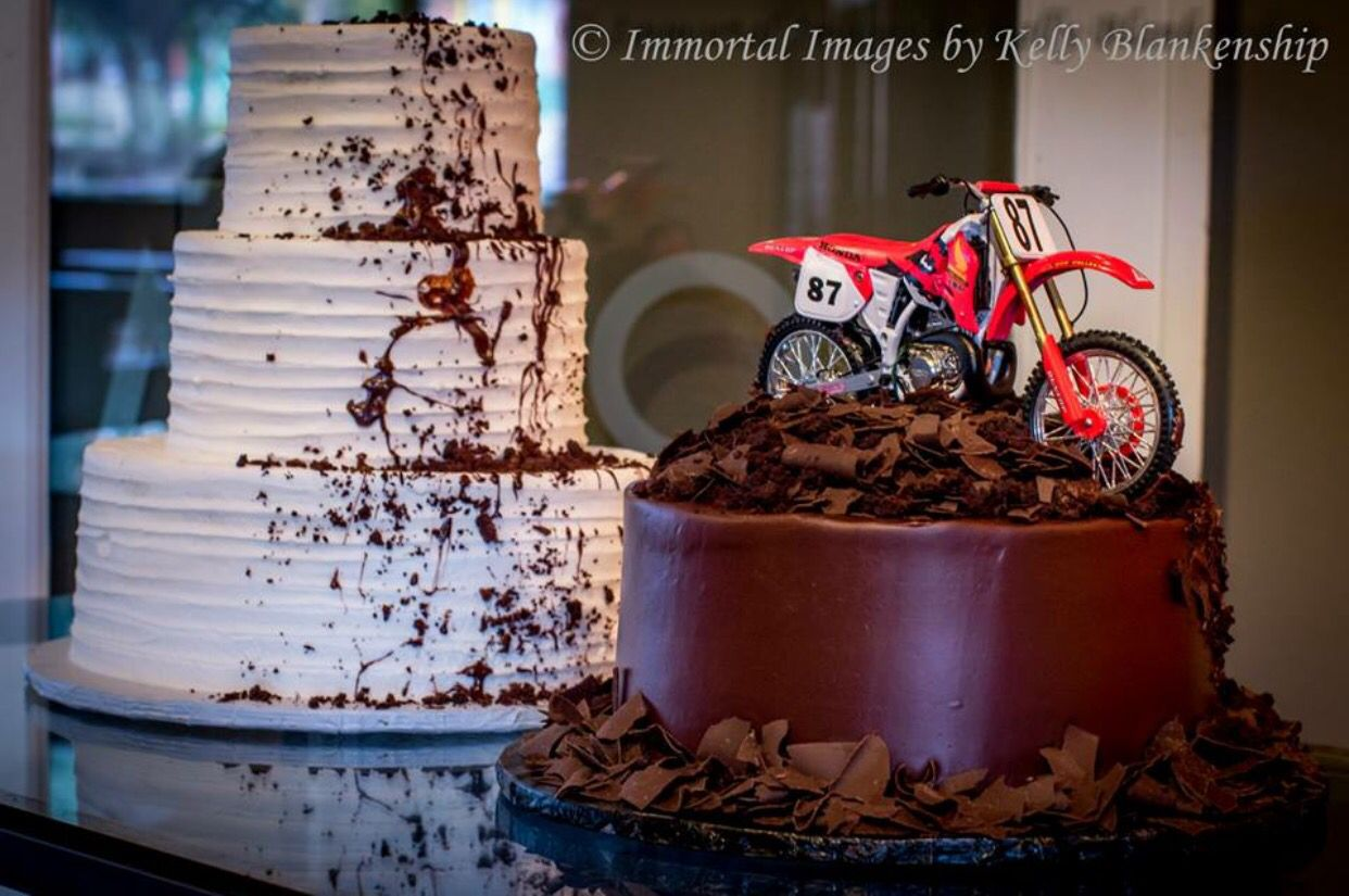 Our wedding cakes! Braaap! #classyfun #bride #groom #motocross ...