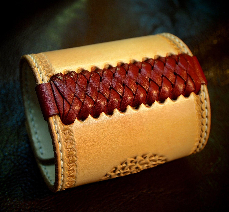 Leather cuff Bracelet American Western Saddle by mataradesign