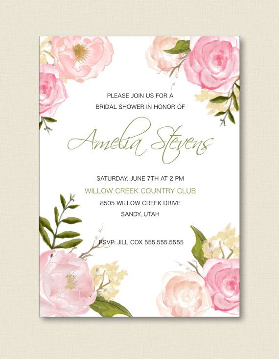 Bridal Luncheon Invitation Floral Border By