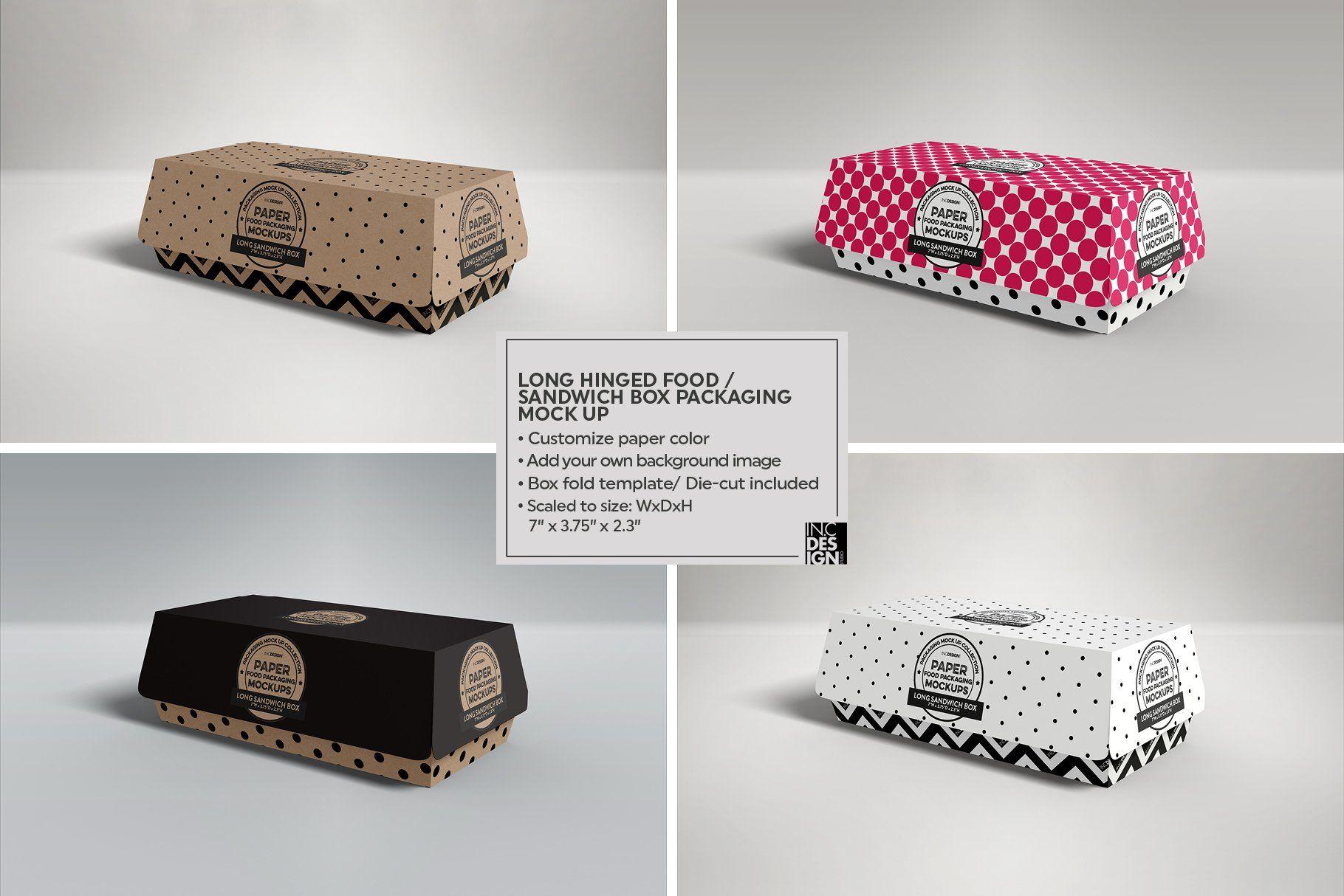 Download Hinged Long Sandwich Box Mockup Food Box Packaging Box Packaging Sandwich Box