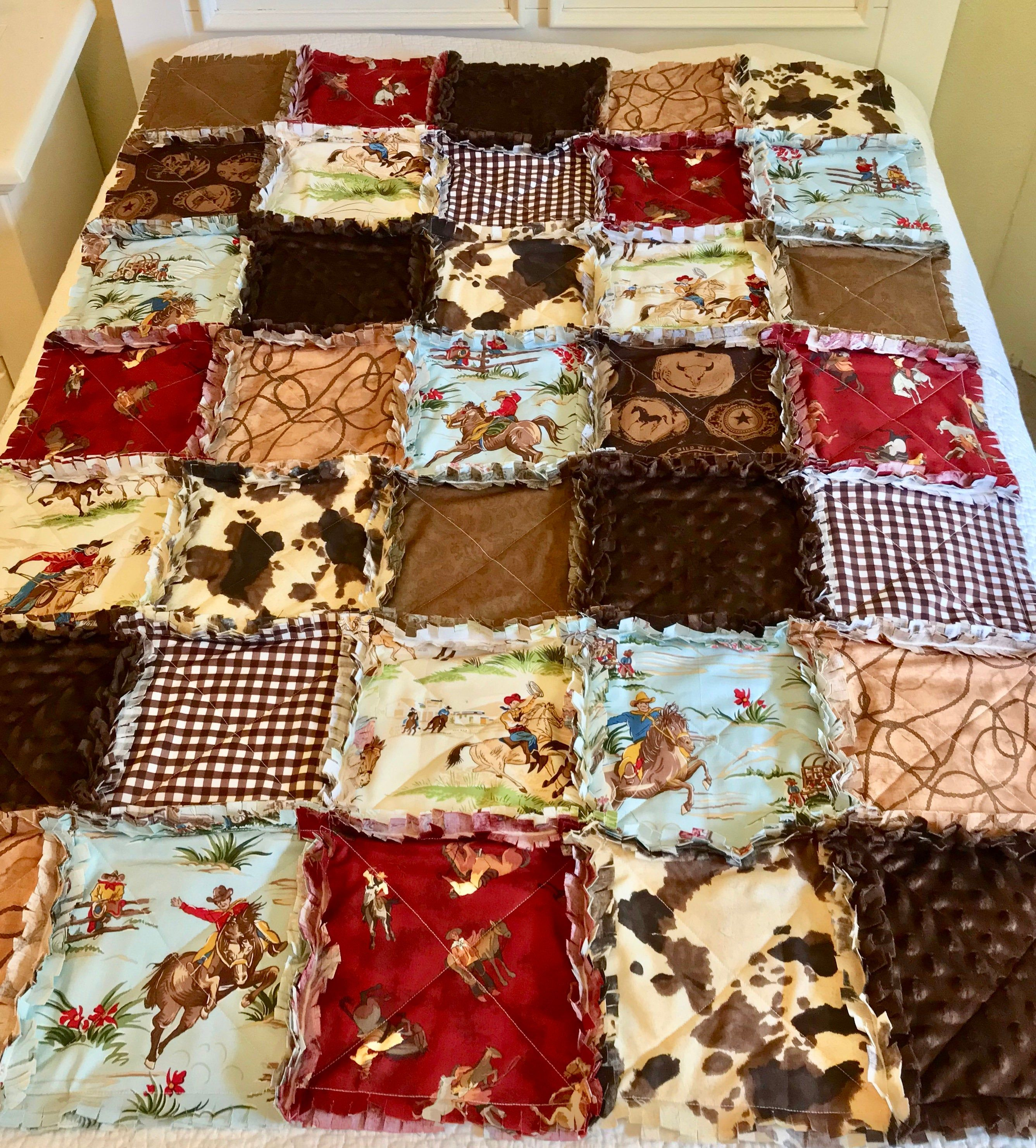 Photo of Baby Quilt, Crib Rag Quilt, Cowboy Western Brown Blue Red Horses Pony Skin Lasso Rope Boy Baby Blanket Barn Dandy