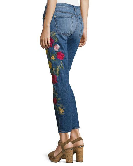Rose Garden Embroidered Boyfriend Jeans, Blue