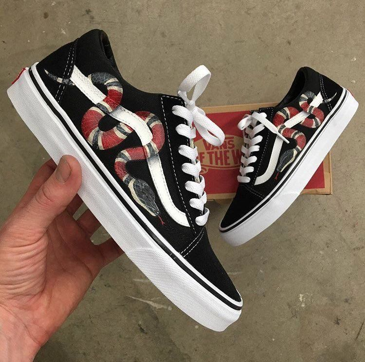 fc3d342cb Custom Gucci VANS Old Skool | i fucks with this | Shoes, Gucci snake ...