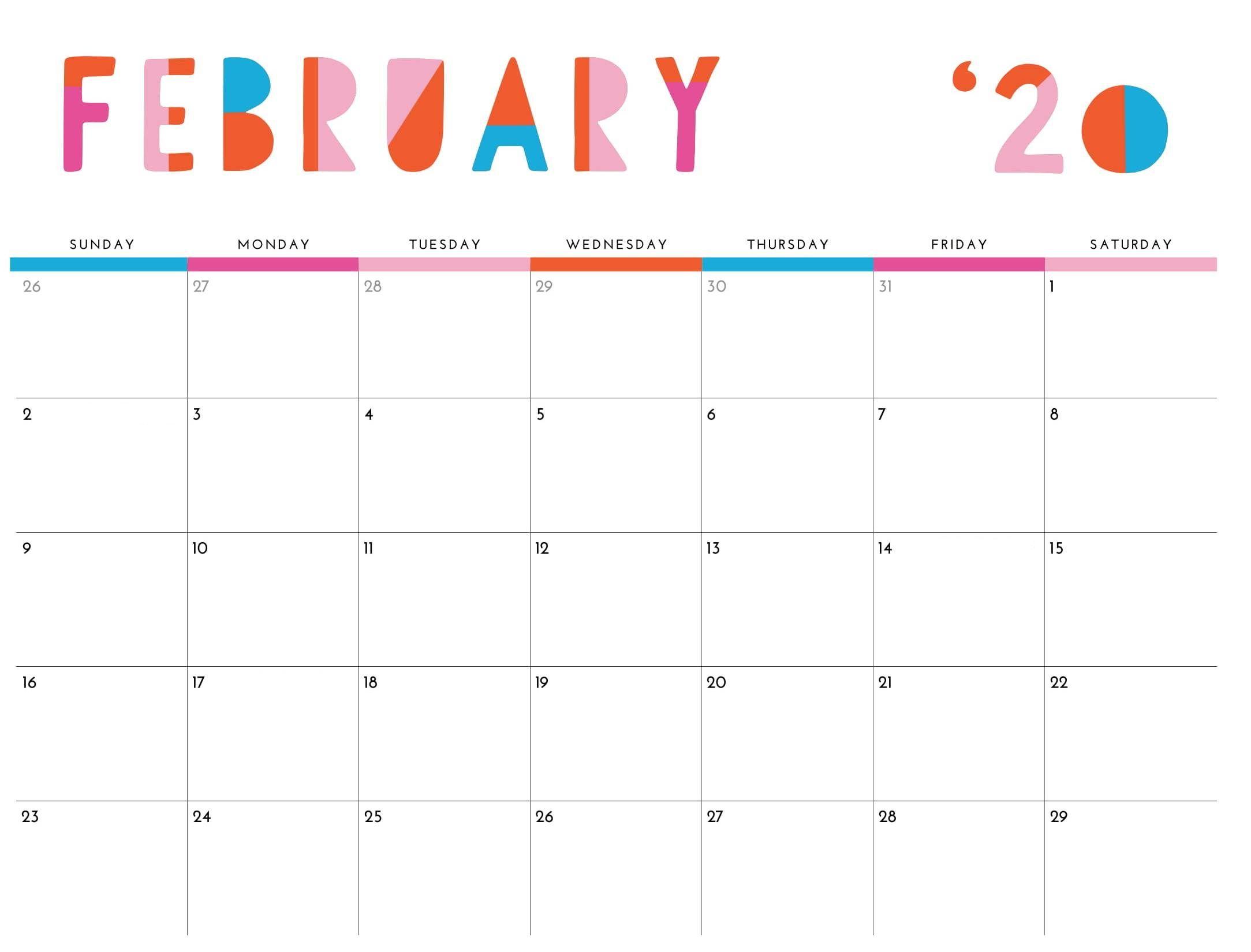 Cute February 2020 Calendar Printable Editable Template