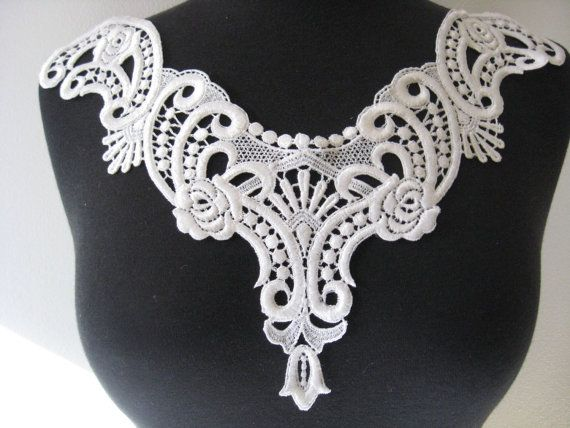 White lace applique lace appliques guipure by Threads2Trends, $4.20