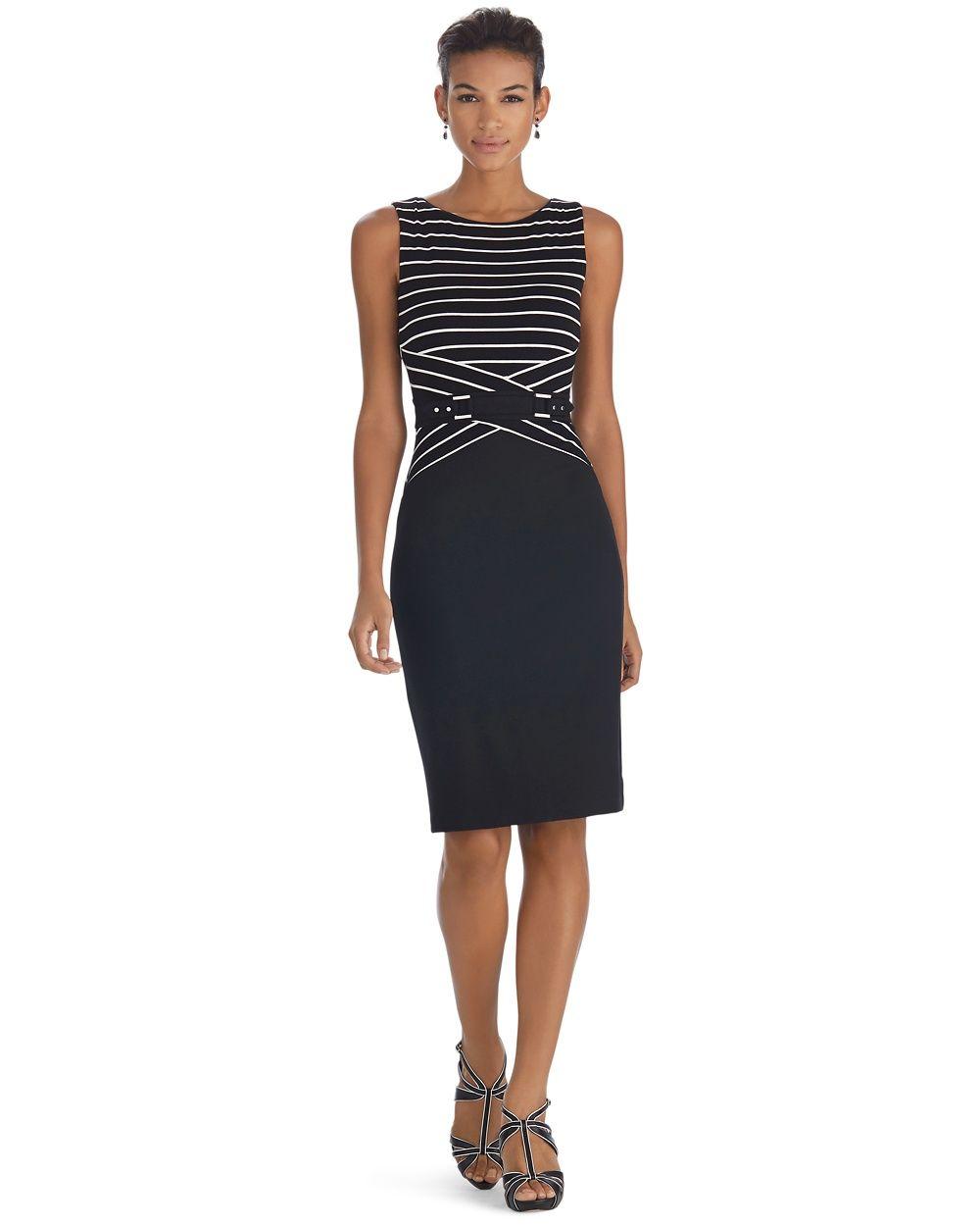 White House Black Market Sleeveless Stripe Sheath Dress