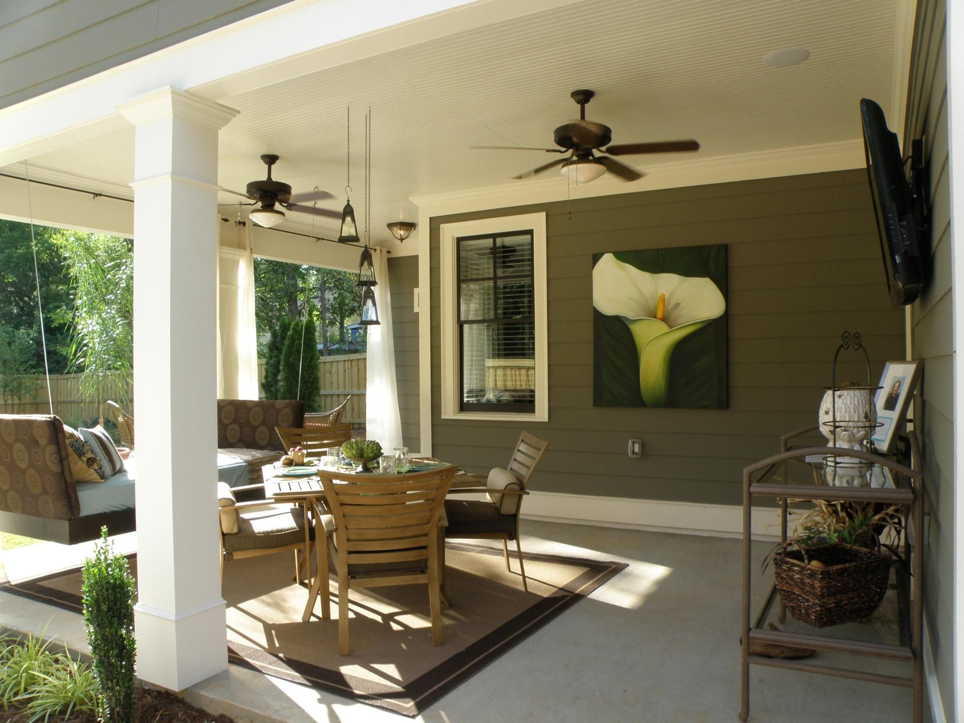 Polished Ceiling Fan Lights Over Patio Set Adirondack Design With Grey  Outdoor Wall Painted As Decorate Modern Covered Patio Inside Furnishing  DesignsBack patio column  Lisa Hatch   Designer Show House   Athens  . Outdoor Covered Patio Lighting Ideas. Home Design Ideas