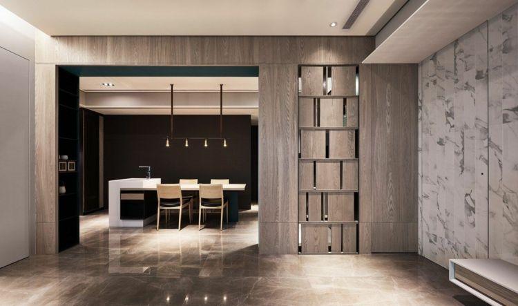 Modernes Wohnzimmer Holz Raumteiler Trennwand Marmor #interiors #design