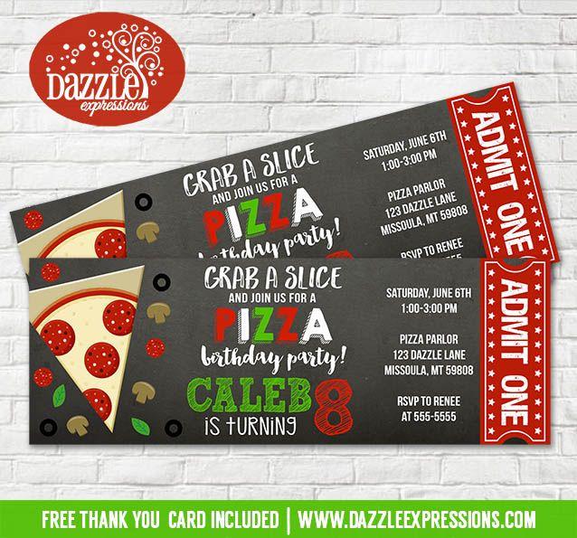 Printable Chalkboard Pizza Party Ticket Birthday Invitation