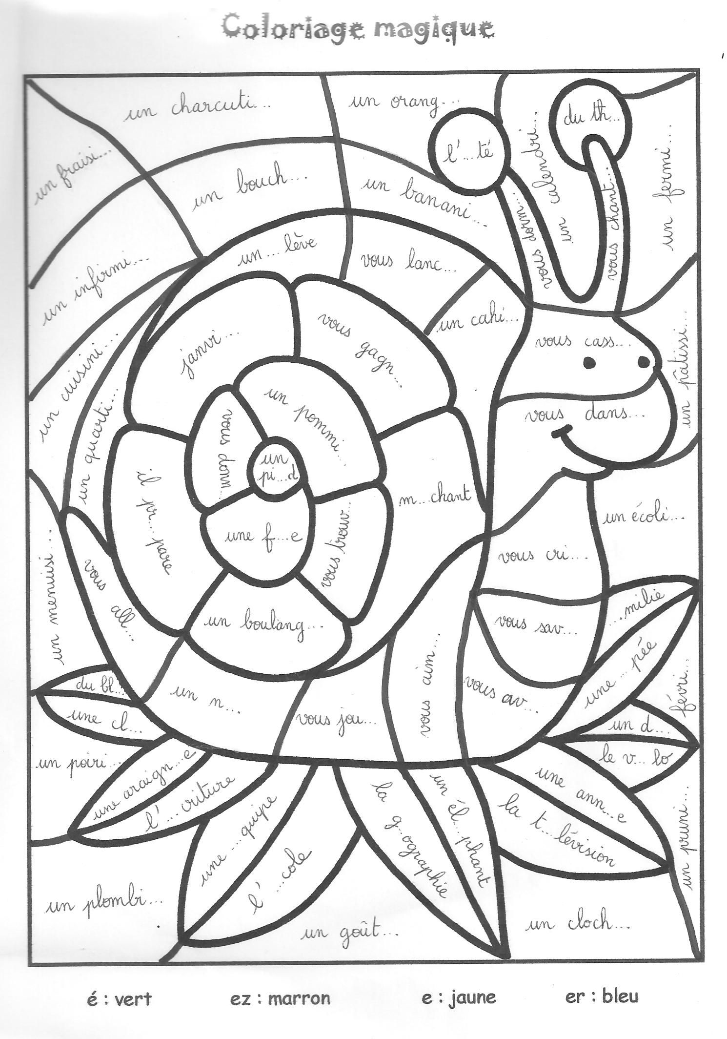 Coloriage magique cp colorier dessin imprimer for Coloriage magique table x 6