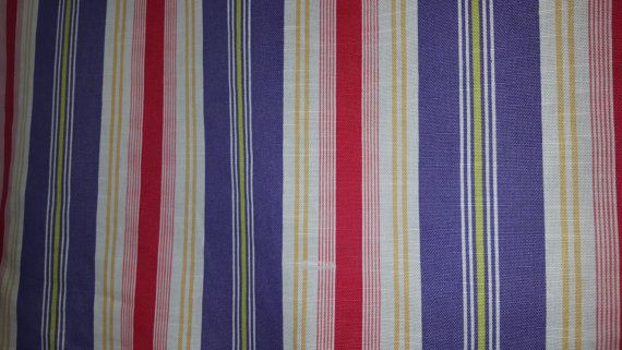 Purple Hot Pink White Cotton Stripe Upholstery By Fabriczoo4u