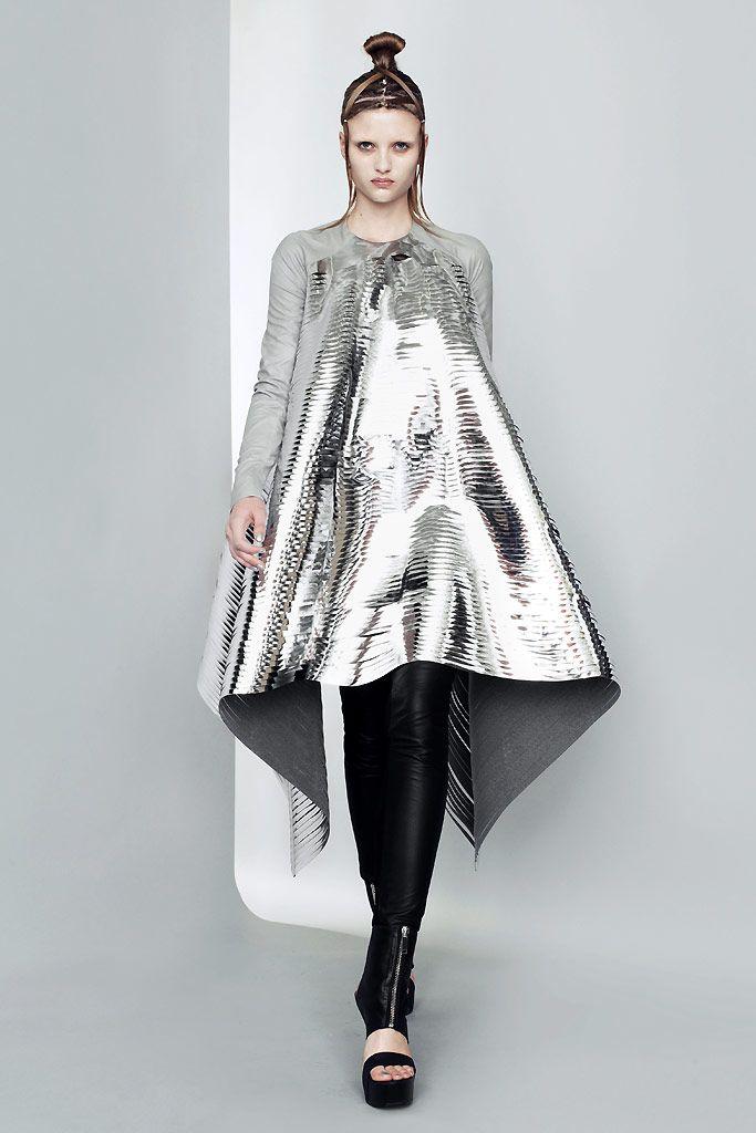 Sculptural Fashion - laser cut silver dress, shiny futuristic fashion // Gareth Pugh Spring 2011