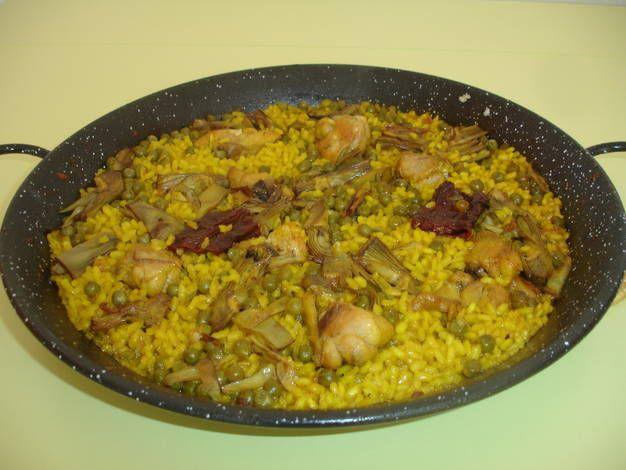 Paella De Pollo Alcachofas Y Guisantes Receta De Kiko Receta Paella De Pollo Alcachofas Guisantes