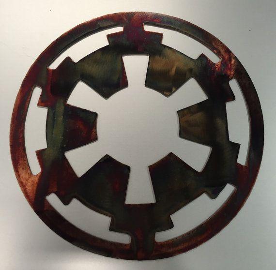 Star Wars Metal Wall Art Movie Imperial Symbol Sign Decor Etsy Metal Wall Art Wall Art Movie Art