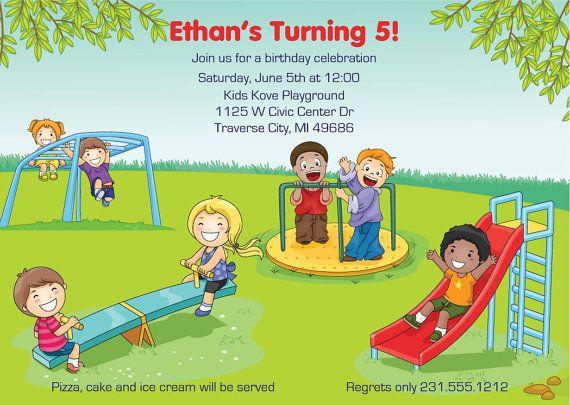 Playground Invitation Kids Birthday Party Invite Printable or – Playground Birthday Invitations